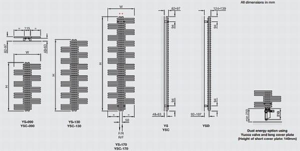 Zehnder Yucca Symmetrical Towel Radiators 3