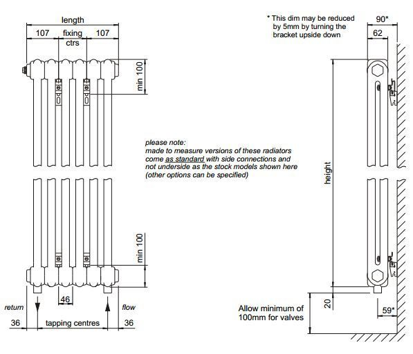 Bisque Classic Wall Hung Radiator 4